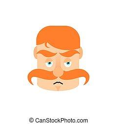 émotion, emoji., vendange, hommes, isolé, triste, moustache, surprise, figure, irishman, rouges, retro