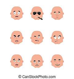 émotion, ensemble, fâché, cigare, coupable, triste, avatar., sleeping., malade, fumer, type, face., emoji