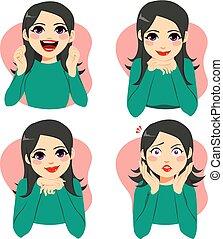 émotion, expressions, femme, facial