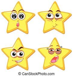 émotion, forme, étoile, différent