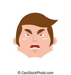 émotion, garçon, emoji., isolated., fâché, jeune, figure, type, agressif, homme