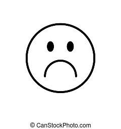 émotion, gens, négatif, figure, triste, dessin animé, icône