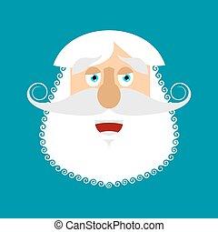 émotion, gris, vieux, emoji., heureux, rire, isolé, figure, homme aîné, barbe