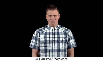 émotion, homme, spectacles, triste, chemise, sadness., fond, jeune, noir