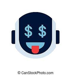 émotion, icône, dollar, robot, figure, robotique, sourire, signe, emoji