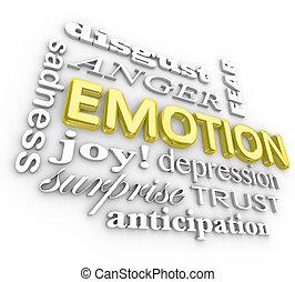 émotion, large, gamme, tristesse, joie, surprise, colère, dépression