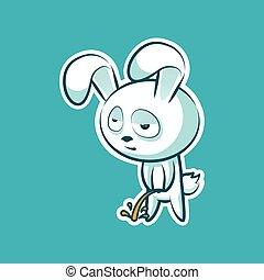 émotion, mignon, lapin, lièvre, autocollant, doux, emoji, caractère, isolé, coney, pipi, blanc, paques, heureux, décontracté, illustration, cony, lapin, vecteur, lapin, emoticon, vue