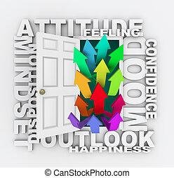 émotion, mot, humeur, attitude, porte, mindset