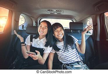 émotion, passager, séance, voiture, gai, asiatique, bonheur...