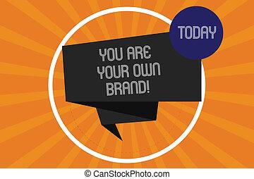 émotion, propre, brand., texte, photo., vous-même, concept, bande, ton, ruban, plié, écriture, autre, cercle, sunburst, 3d, perception, business, projection, halftone, vous, sur, mot, intérieur, boucle