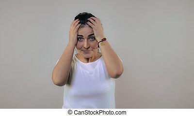 émotion, spectacles, femme, contrariété
