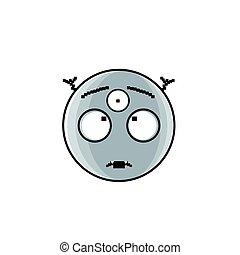 émotion, yeux, gens, trois, figure, étranger, sourire, dessin animé, icône