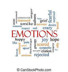 émotions, mot, nuage, concept