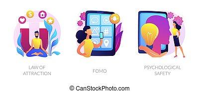 émotions, positif, négatif, illustrations., vecteur, concept, résumé