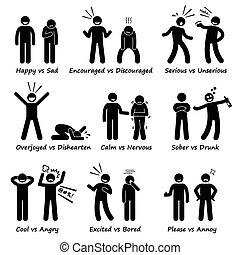 émotions, sentiment, opposé, positif