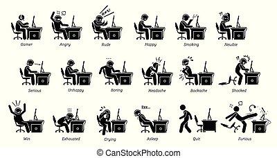 émotions, sentiments, pc, quoique, gamer, games., jouer, réactions