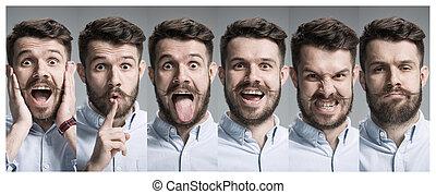 émotions, surpris, collage, heureux