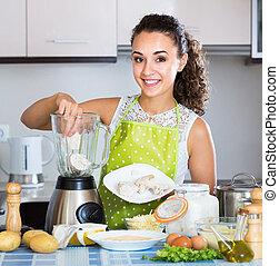 émoulage, mixer, ingrédients, girl, utilisation