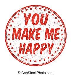 én, bélyeg, ön, csinál, boldog