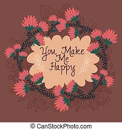 én, -beautiful, elements., csinál, köszönés, virágos, ön, kártya, boldog