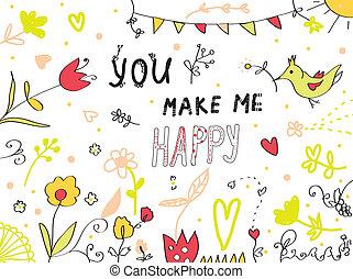 én, csinál, köszönés, tervezés, virágos, ön, kártya, boldog