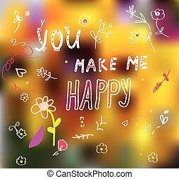 én, csinos, romantikus, csinál, -, ön, kártya, boldog