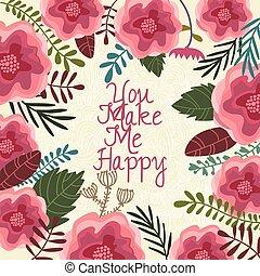 én, gyönyörű, elements.cute, csinál, -, vektor, tervezés, meghívás, virágos, ön, kártya, boldog