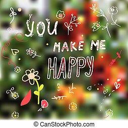 én, virág, csinál, köszönés, tervezés, ön, kártya, boldog