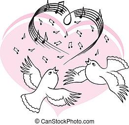 énekel, love., madarak, dal