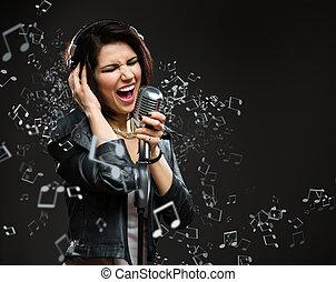 énekel song, kő, zenész, noha, mic, és, fülhallgató