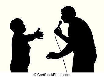 énekes, övé, rajongó, longtime, hím