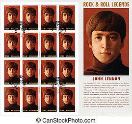 énekes, beatles, 1995, bélyeg, jános, -, 1960s, híres, :, lennon, váratlanul csoport, cirka, nicaragua, zenés, nyomtatott