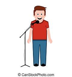 énekes, hím, elszigetelt, ikon