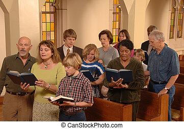 éneklés, hymns, alatt, templom