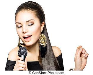 éneklés, woman., szépség, nő, noha, mikrofon