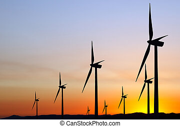 énergie éolienne, à, coucher soleil