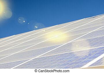 énergie alternative, concepts:, panneaux solaires, étalage, contre, bleu, sky.