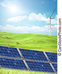 énergie alternative, dans, a, champ vert
