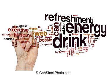 énergie, boisson, mot, nuage, concept