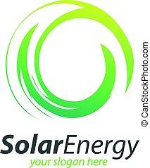 énergie, cercle, solaire, logo., résumé, technologie