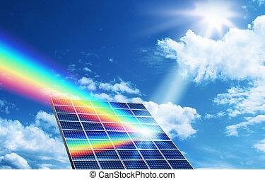 énergie, concept, solaire, renouvelable