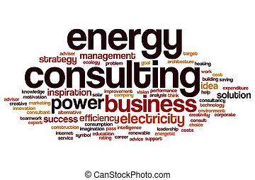 énergie, consultant, mot, nuage