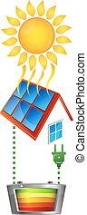 énergie, conversion, électricité, solaire