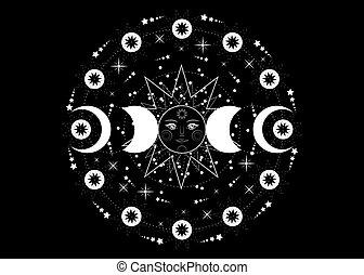 énergie, déesse, noir, païen, orbites, sacré, phases, roue, soleil, année, isolé, lune, wiccan, lune, triple, géométrie, système, circle., planètes, fond, transparent, vecteur, symbole