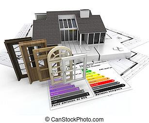 énergie, efficace, construction