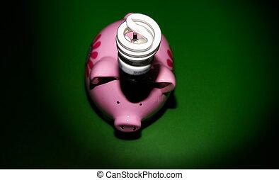 énergie, efficace, light-bulb, sur, a, tirelire, sur, vert