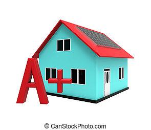 énergie, efficace, maison, 3d, rendre