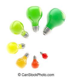 énergie, efficacité, niveaux, comme, ampoules