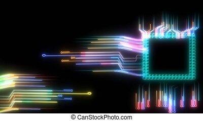 énergie, en mouvement, puce, entiers, intelligent, technologie, numérique, traitement, futuriste, puissance, tordu, autour de, cellule, lumière, photon, grande vitesse, données