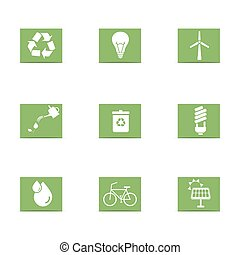 énergie, ensemble, vert, icônes